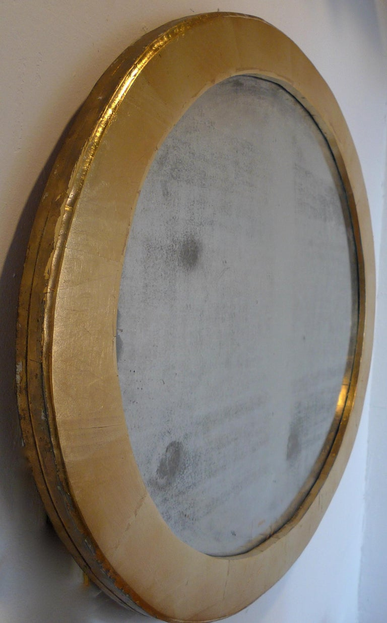 French 19th Century Oval Gold Painted Oval Wood Framed Mirror and Original Glass For Sale 3