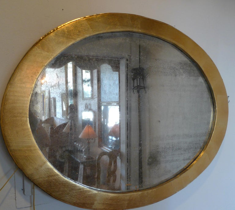 French 19th Century Oval Gold Painted Oval Wood Framed Mirror and Original Glass For Sale 5