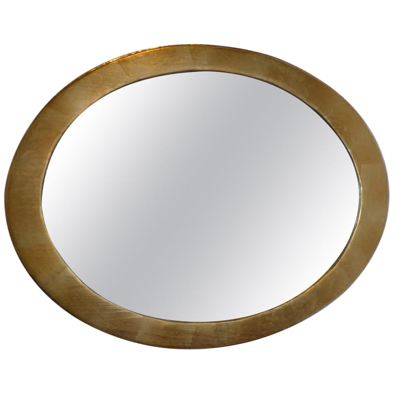 French 19th Century Oval Gold Painted Oval Wood Framed Mirror and Original Glass For Sale