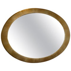 French 19th Century Oval Gold Painted Oval Wood Framed Mirror and Original Glass