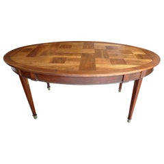 French 19th Century Oval Mahogany Dining Table with Walnut Parquetry Top