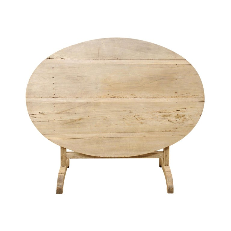 French 19th Century Oval-Shaped Wine Tasting Tilt-Top Table For Sale