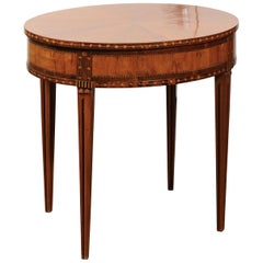 French 19th Century Oval Walnut and Satinwood Inlaid Table with Radiating Veneer
