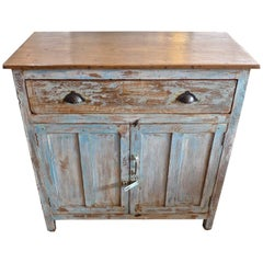 French 19th Century Painted 2-Door Buffet with One Large Drawer