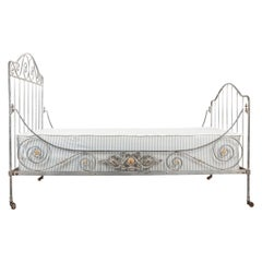 French 19th Century Painted-Iron Campaign Daybed