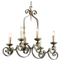 French 19th century Painted Iron Six-Light Chandelier with Scrolling Arms