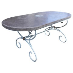 French 19th Century Painted Iron Table Base with Concrete Top