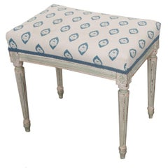 French 19th Century Painted Louis XVI Style Upholstered Stool