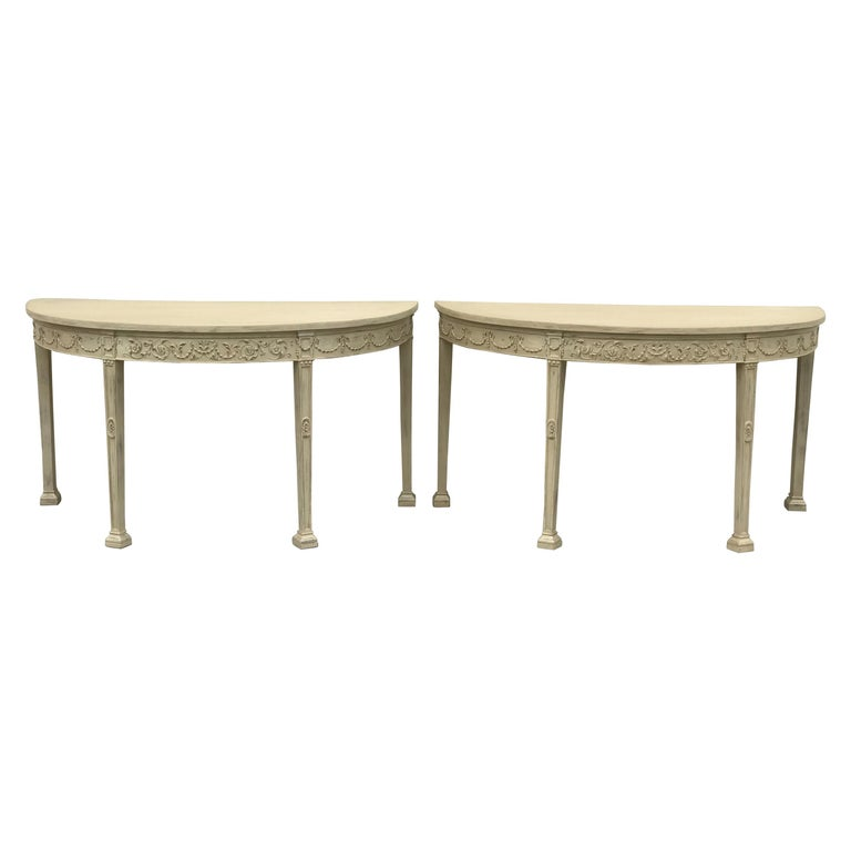 French 19th Century Painted Neoclassical Demilune Console Tables, a Pair For Sale