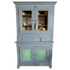 French 19th Century Painted Pine Buffet with 2 Glass Panel and 2 Solid Doors