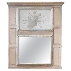 French 19th Century Painted Pine Trumeau Mirror with Original Mirror Glass