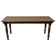 French 19th Century Painted Pinewood Picnic Table with Hand Carved Legs