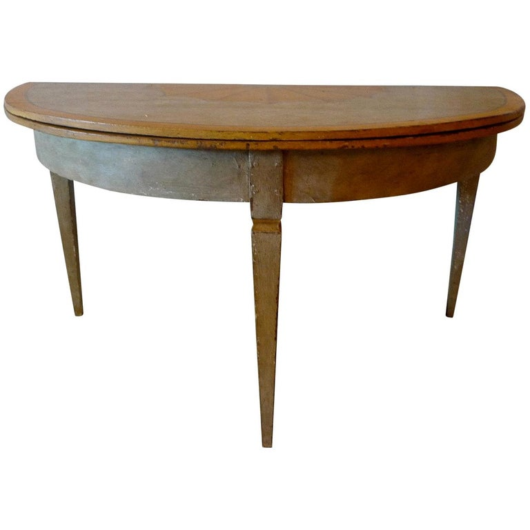 French 19th Century Painted Round Farm House Dining Table And Folding Demilune