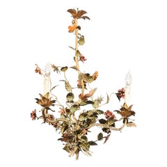 French 19th Century Painted Tôle Three-Light Chandelier with Flowers and Vines