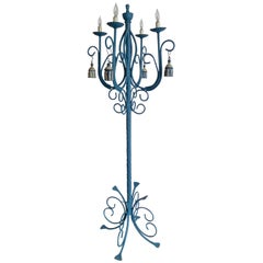 French 19th Century Painted Torchère or Floor Lamp with Four Lights