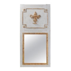 French 19th Century Painted Trumeau Mirror with Giltwood Vase and Mercury Glass