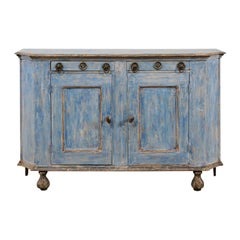 French 19th Century Painted Wood Sideboard Cabinet in Blue with Charcoal Accents