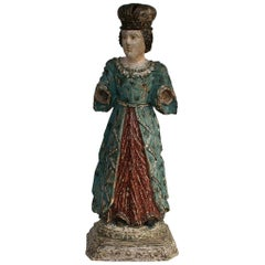 French 19th Century Painted Wooden Madonna or Santos