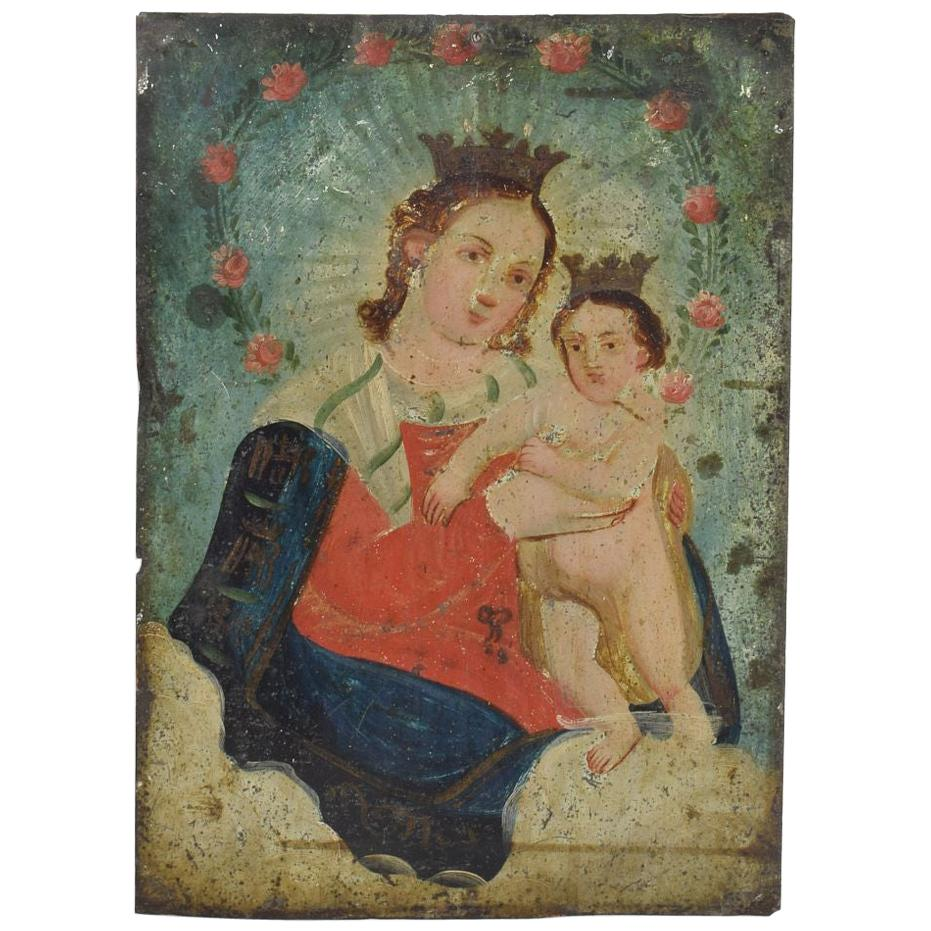 French 19th Century Painting of Maria with Baby Jesus