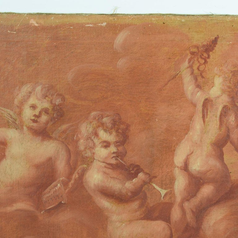 Baroque French 19th Century Painting with Cherubs / Angels