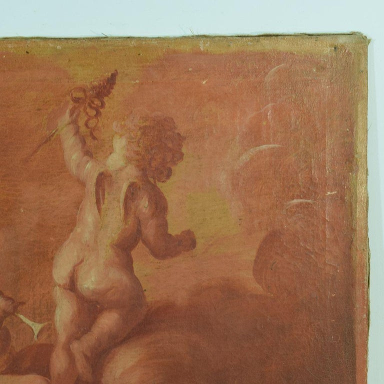 French 19th Century Painting with Cherubs / Angels In Good Condition In Amsterdam, NL