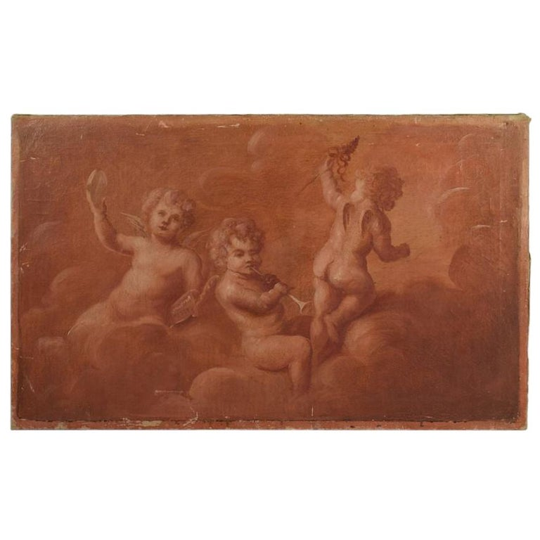 French 19th Century Painting with Cherubs / Angels