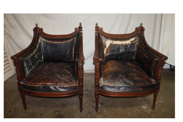 French 19th century Louis XVI pair of bergère chairs.