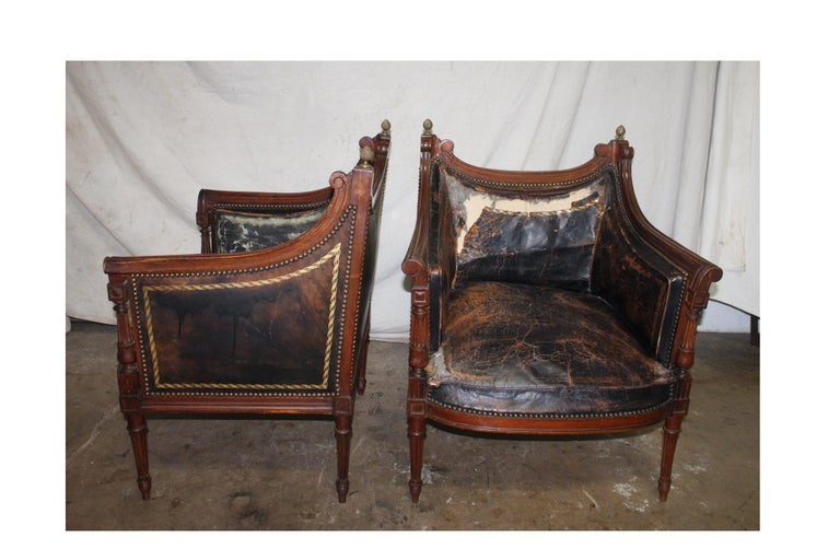Bronze French 19th Century Pair of Bergère Chairs For Sale