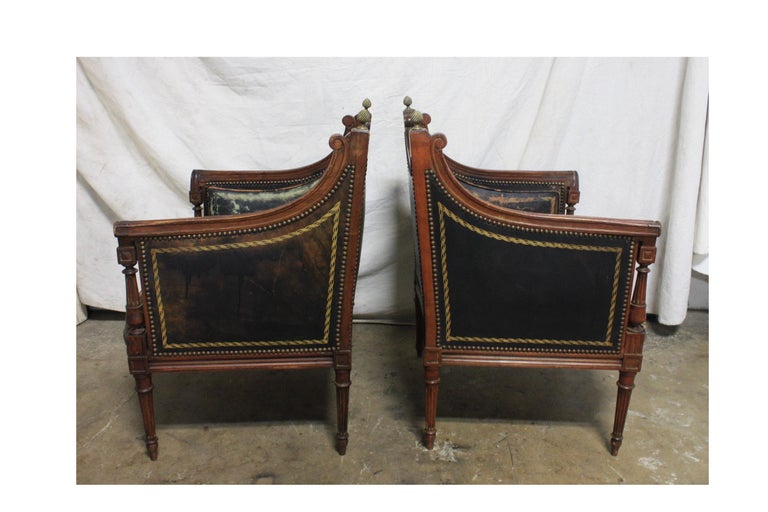 French 19th Century Pair of Bergère Chairs For Sale 3