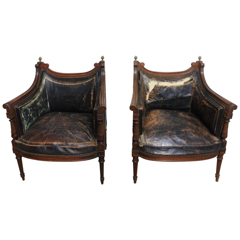 French 19th Century Pair of Bergère Chairs For Sale