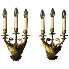 French 19th Century Pair of Bronze Eagle Antique Wall Sconces