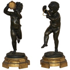 French 19th Century Pair of Bronze Musicians Putti
