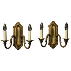 French 19th Century Pair of Bronze Twin Arm Antique Wall Lights