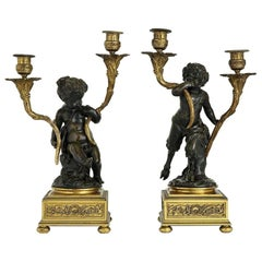 French 19th Century Pair of Faune and Bacchus Candelabras, circa 1880