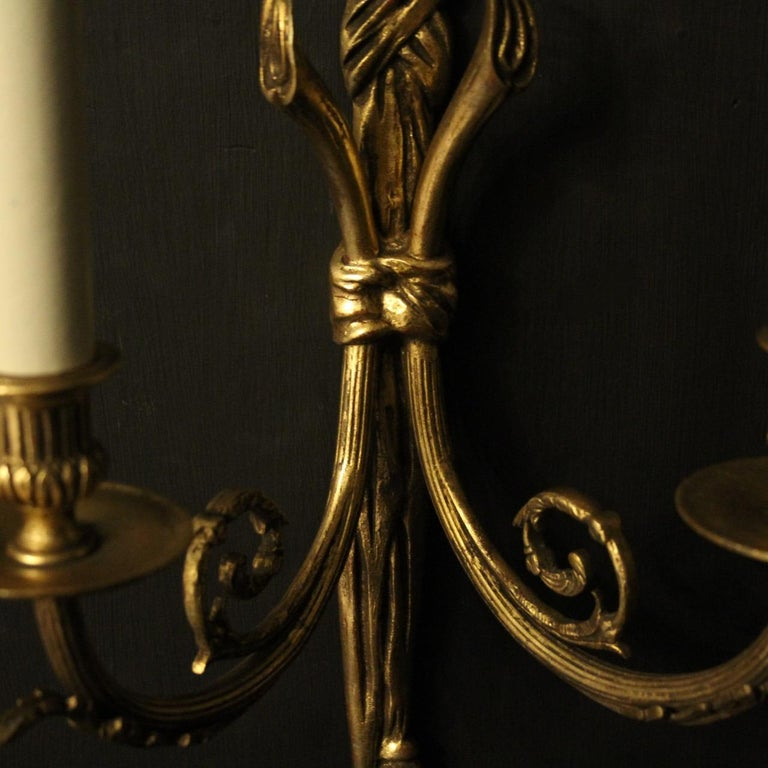 French 19th Century Pair of Gilded Bronze Antique Wall Lights In Good Condition For Sale In Chester, GB