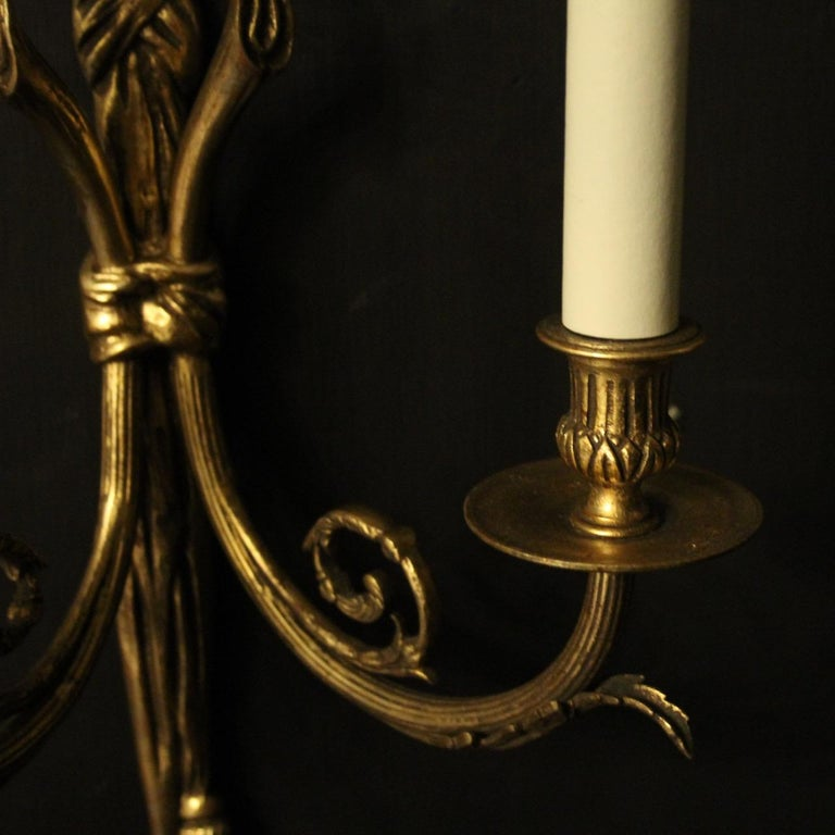 French 19th Century Pair of Gilded Bronze Antique Wall Lights For Sale 3