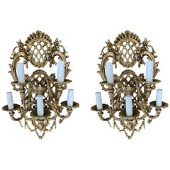 French 19th Century Pair of Gilded Bronze Wall Sconces