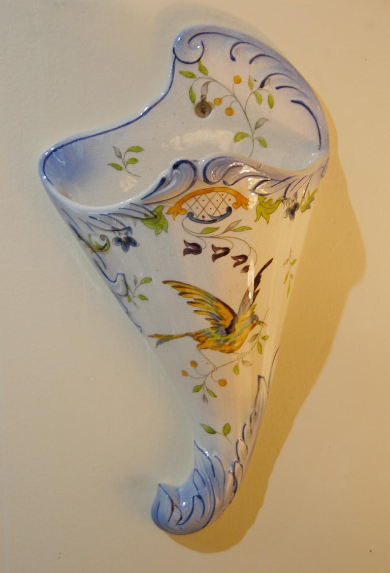 Hand-Painted French 19th Century Pair of Longchamp Faience Hand Painted Wall Pockets