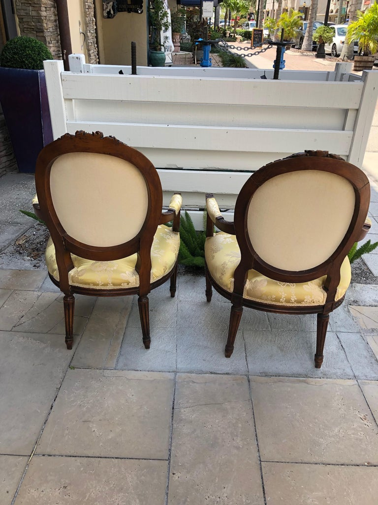 Mid-19th Century French 19th Century Pair of Louis XVI Armchairs/Bergere Chairs For Sale