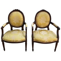 French 19th Century Pair of Louis XVI Armchairs/Bergere Chairs