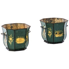 French 19th Century Pair of Flower Vases Green Lacquered Metal with Gold Flowers