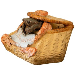 French 19th Century Palissy Ware Crab Salt Box