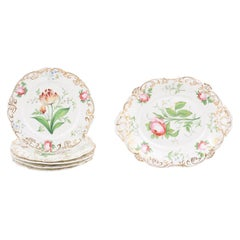 French 19th Century Paris Porcelain Dessert Set with Five Plates and Compote