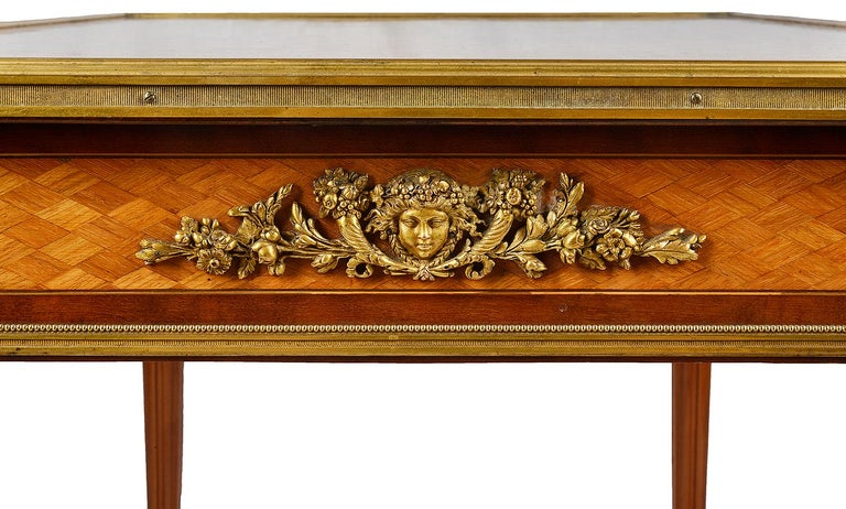 Louis XVI French 19th Century Parquetry Inlaid Table, in the Style of Linke For Sale