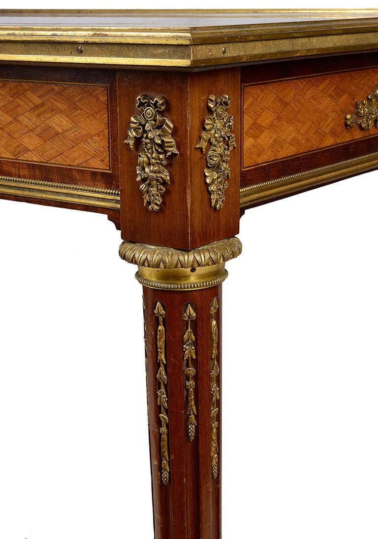 Mahogany French 19th Century Parquetry Inlaid Table, in the Style of Linke For Sale