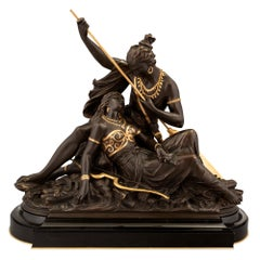 French 19th Century Patinated Bronze and Gilt Statue of Native Americans Lovers