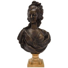French 19th Century Patinated Bronze and Ormolu Bust of Marie Antoinette