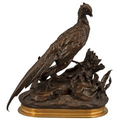 French 19th Century Patinated Bronze and Ormolu Statue of a Pheasant