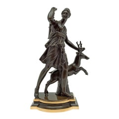 French 19th Century Patinated Bronze and Ormolu Statue of Diana the Huntress