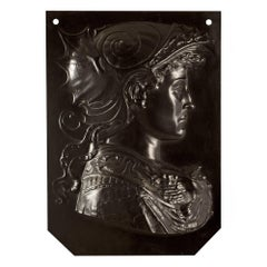 French 19th Century Patinated Bronze Decorative Wall Plaque of Joan of Arc